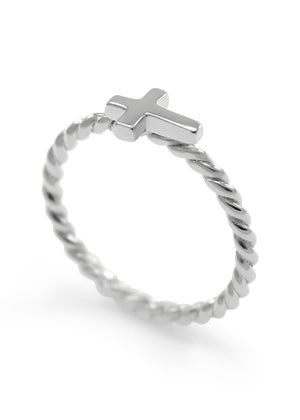 Ring - Dainty Sideways Cross Ring With Twist Band