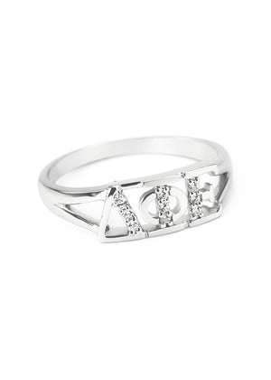 Ring - Delta Phi Epsilon Sterling Silver Ring With Simulated Diamonds
