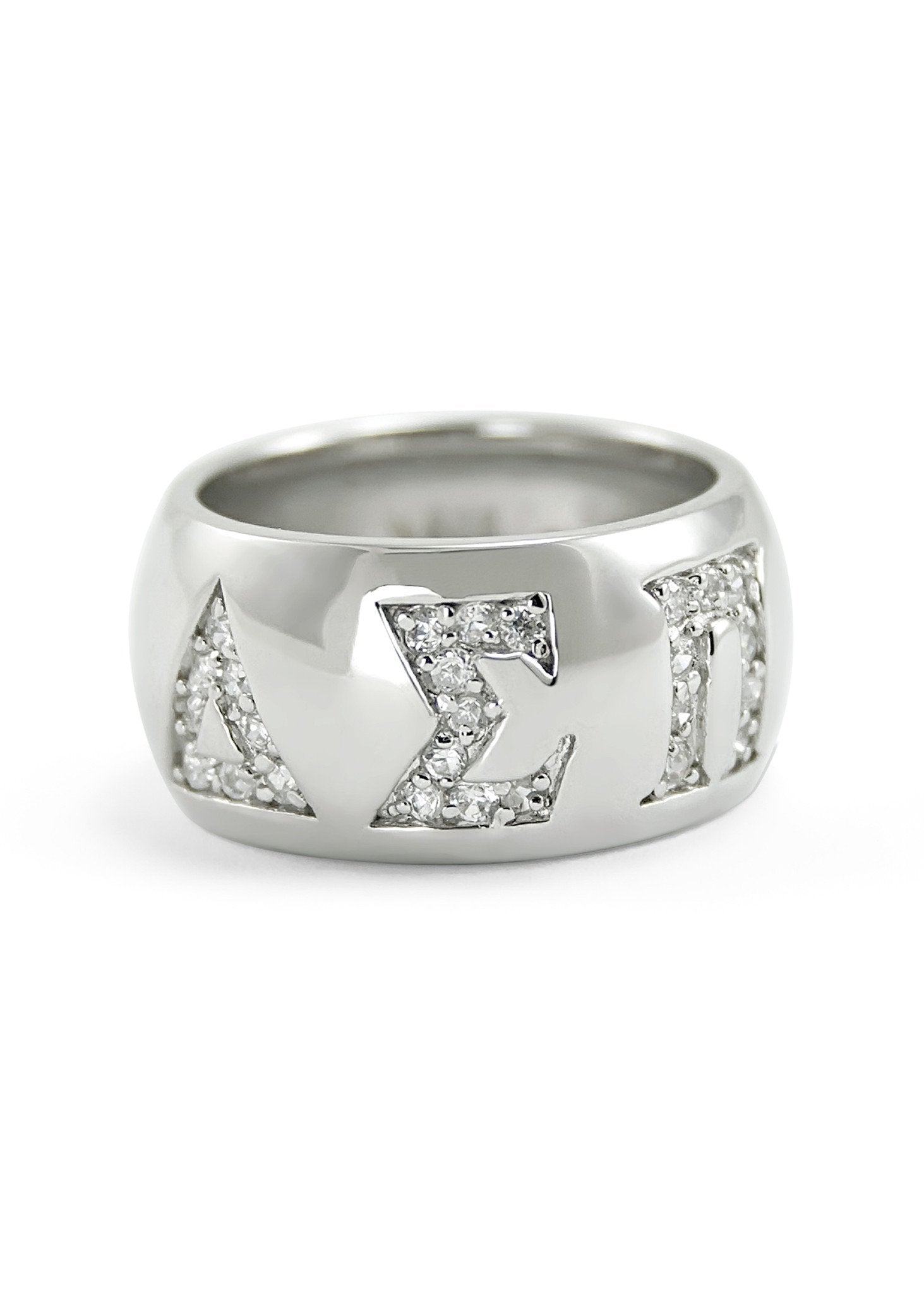 Alpha Omicron Pi Sterling Silver Ring w// All Pave Cubic Zirconia /& Greek Letters