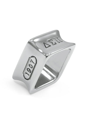 Ring - Delta Sigma Pi Sterling Silver Square Ring With Founding Date
