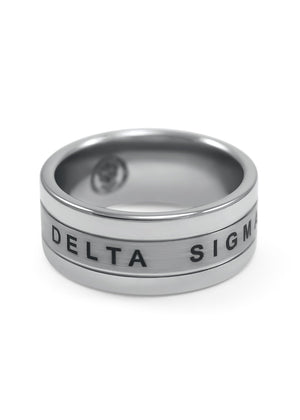 Ring - Delta Sigma Pi Tungsten Ring With Founding Date And Crest