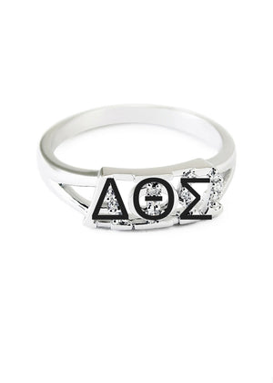 Ring - Delta Theta Sigma Sterling Silver Ring With Simulated Diamonds