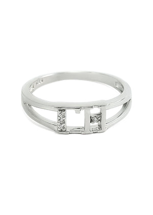 Ring - Gamma Eta Sterling Silver Ring With Simulated Diamonds