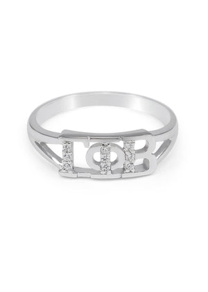 Ring - Gamma Phi Beta Sterling Silver Ring With Simulated Diamonds
