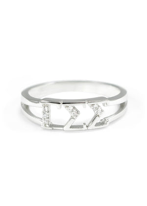 Ring - Gamma Sigma Sigma Sterling Silver Ring With Simulated Diamonds