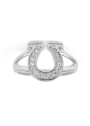 Ring - Horseshoe Ring With Simulated Diamonds