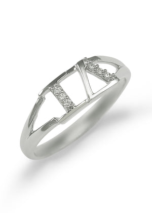 Ring - Iota Delta Sterling Silver Ring With CZs
