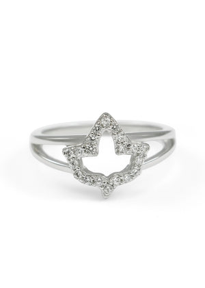 Ring - Ivy Leaf Ring With Simulated Diamonds