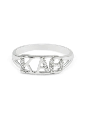 Ring - Kappa Alpha Theta Silver Ring With Simulated Diamonds