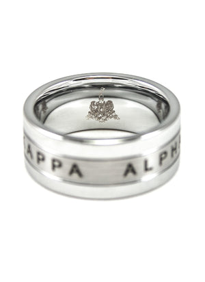 Ring - Kappa Alpha Tungsten Ring With 1865 And Fraternity Crest