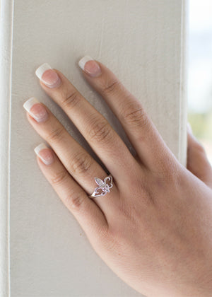 Ring - Kappa Kappa Gamma Fleur-de-Lis Sterling Silver Ring With CZ Diamonds