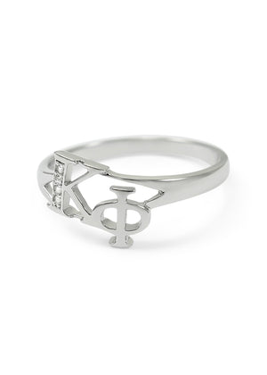 Ring - Kappa Phi Sterling Silver Diagonal Ring With CZs
