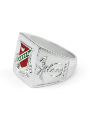 Ring - Kappa Sigma Sterling Silver Ring With Raised Crest And Red Enamel