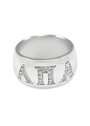 Ring - Lambda Pi Alpha Sterling Silver Dome Ring With Greek Letters And CZs