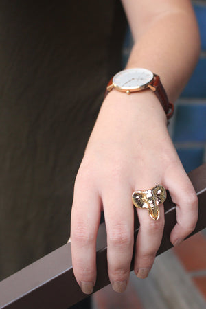 Ring - Mama Elephant Ring- Solid Brass 14k Gold Plated