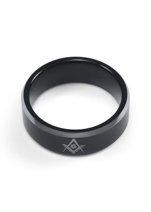 Ring - Masonic Black Tungsten Ring With Square And Compass