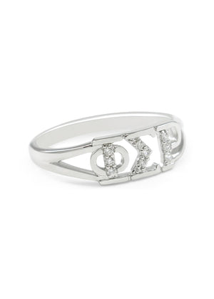 Ring - Phi Sigma Rho Sterling Silver Ring With Simulated Diamonds