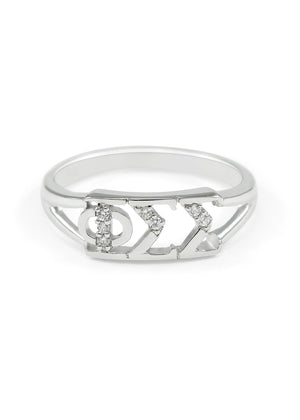 Ring - Phi Sigma Sigma Sterling Silver Ring With Simulated Diamonds
