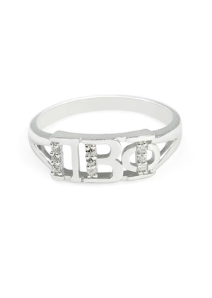 Ring - Pi Beta Phi Sterling Silver Ring With Simulated Diamonds