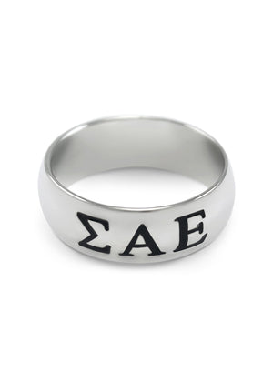 Ring - Sigma Alpha Epsilon Sterling Silver Ring With Black Enameled Letters