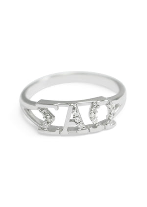 Ring - Sigma Alpha Omega Sterling Silver Ring With Simulated Diamonds