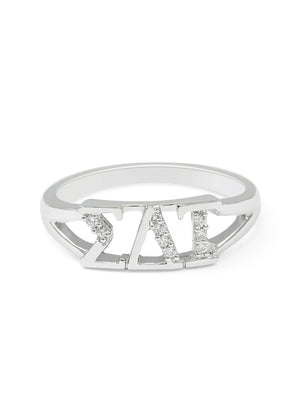 Ring - Sigma Delta Tau Sterling Silver Ring With Simulated Diamonds