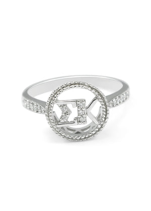 Ring - Sigma Kappa Sterling Silver Circular Ring With Simulated Diamonds