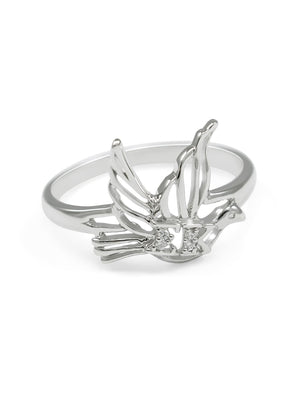 Ring - Sigma Kappa Sterling Silver Dove Ring With CZs