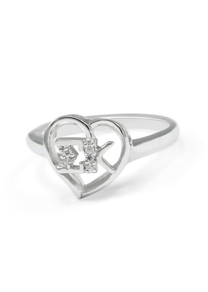 Ring - Sigma Kappa Sterling Silver Heart Ring Simulated Diamonds