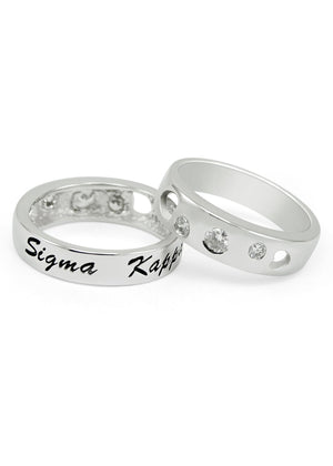 Ring - Sigma Kappa Sterling Silver Ring With Hearts And Cubic Zirconias
