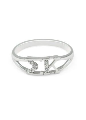 Ring - Sigma Kappa Sterling Silver Ring With Simulated Diamonds