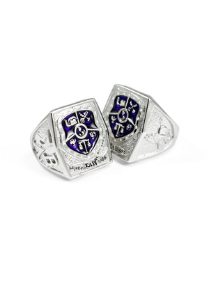 Ring - Sigma Lambda Beta Sterling Silver Crest Ring With Purple Enamel