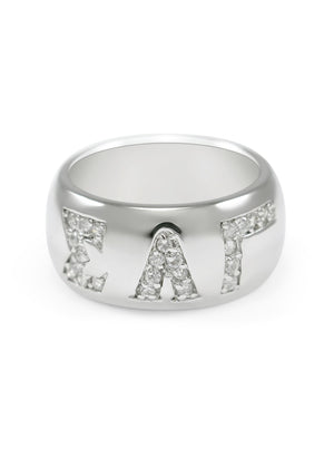 Ring - Sigma Lambda Gamma Sterling Silver Ring With Pave Cubic Zirconia Greek Letters