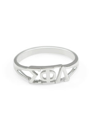 Ring - Sigma Phi Lambda Sterling Silver Ring With Greek Cut Out Letters