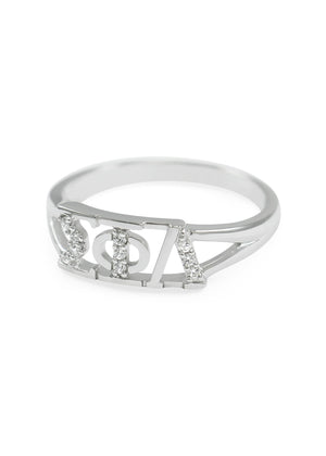 Ring - Sigma Phi Lambda Sterling Silver Ring With Simulated Diamonds