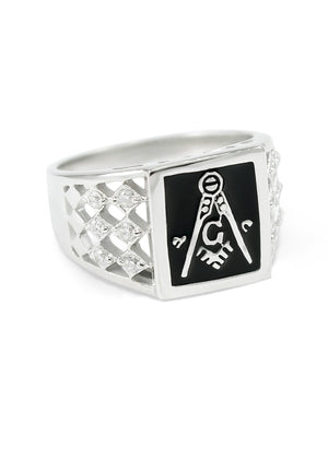 Ring - Square Faced Masonic Ring With Black Enamel And Checkered CZs