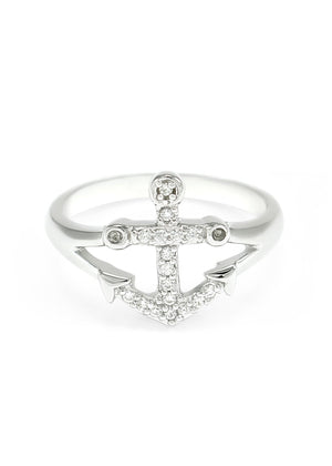 Ring - Sterling Anchor Ring With Simulated Diamonds