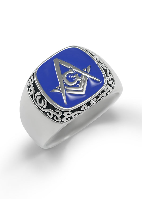 Sterling Silver Masonic Ring with Square and Compass & Blue Enamel