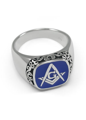 Ring - Sterling Silver Masonic Ring With Square And Compass & Blue Enamel