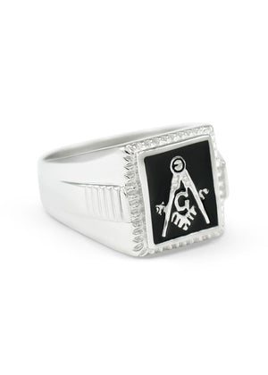 Ring - Sterling Silver Square Faced Masonic Ring With Black Enamel