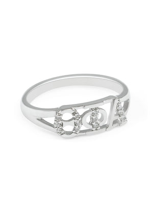 Ring - Theta Phi Alpha Sterling Silver Ring With Simulated Diamonds