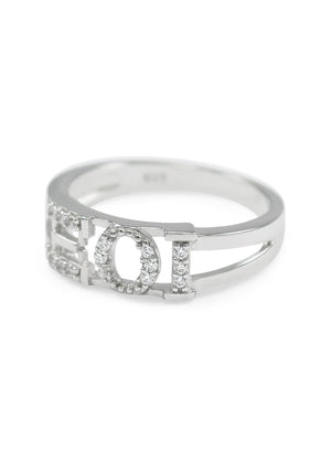 Ring - Xi Omicron Iota Sterling Silver Ring With Simulated Diamonds