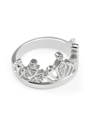 Ring - Zeta Tau Alpha Sterling Silver Crown Ring With CZs