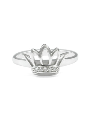 Ring - Zeta Tau Alpha Sterling Silver Crown Ring With Synthetic Diamonds