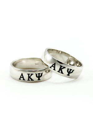 Rings - Alpha Kappa Psi (Mens) Sterling Silver Ring With Black Enamel