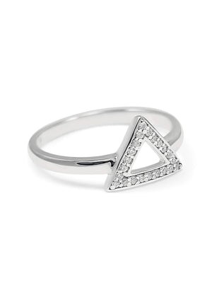Rings - Delta Triangle Sterling Silver Ring With CZs