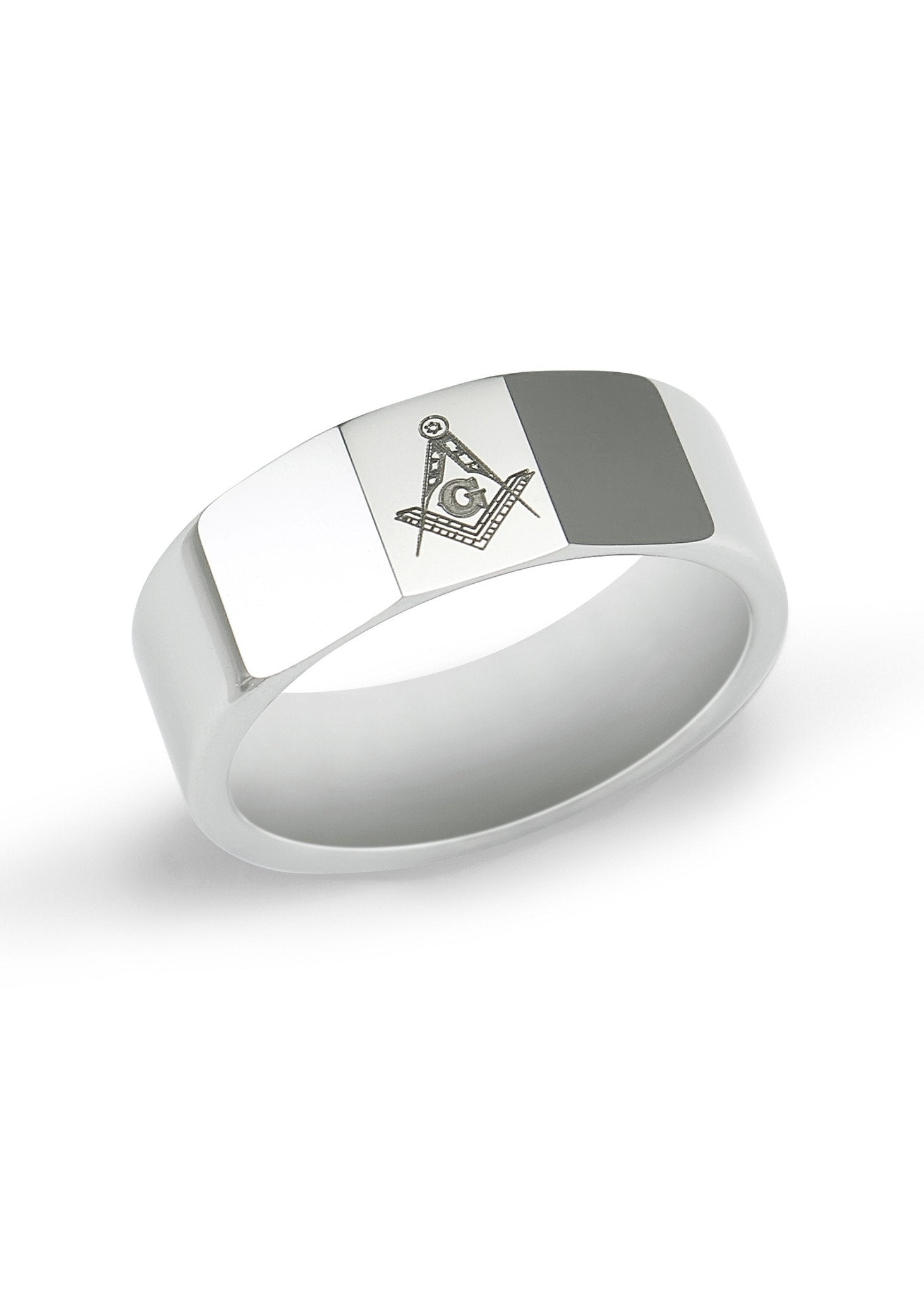 Tungsten Masonic Ring with Faceted Top
