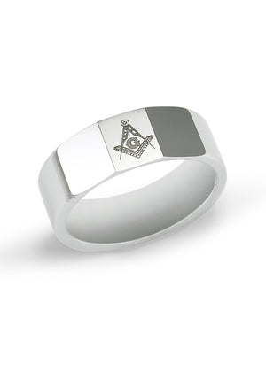 Rings - Tungsten Masonic Ring With Faceted Top