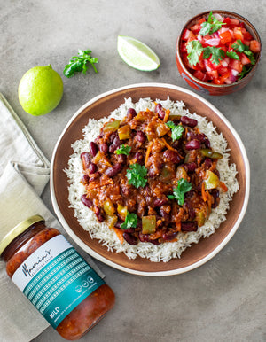 Bean Stew with Coconut Rice and Tomato Salsa