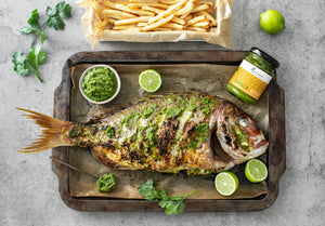 Whole Roast Snapper with Green Chilli Sauce and Lime